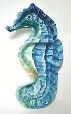 "Melamine Seahorse Divided Serving Tray Platter Blue Green 16"""