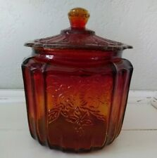 RARE Anchor Hocking MAYFAIR AMBERINA RED OPEN ROSE Depression Glass Cookie Jar