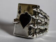 Huge Solid 925 Sterling Silver Ace of Spades Ring W (US 11) 30g 1oz