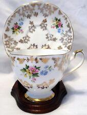Crown Fine Bone China England w/Small Flowers & Gold Trim Tea Cup & Saucer