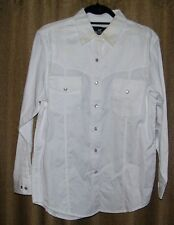 Men's Western Exposure White Long Sleeve Shirt w/ Pearl Buttons Size L NWT
