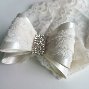 Special Occasions Baby Girls Lace & Rhinestone Double Bow Lace Headband