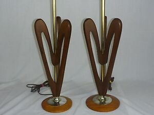 Pair Vtg Mid Century Danish Modern Sculptural Wood Table Lamps Teak? Heart Shape