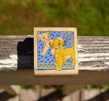 Walt Disney Lion King Young Simba Nala Wood Rubber Stamp A455-C Movie Stampede