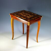 Sorrento Ware Inlaid Marquetry Music Box Side Table
