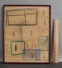 1964 Original DAN BASEN Abstract Outsider Collage Painting Drawing & Matchsticks