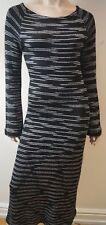 MISSONI Orange Label Black & White Knitted Long Sleeve Pencil Dress Sz:44 UK12