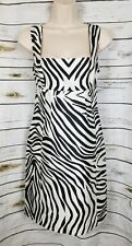 Club Monaco Zebra Print Dress 8 Silk Blend Sheath Sleeveless