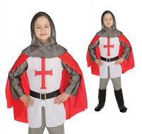 Boys Child St George Medieval English Crusader Knight Fancy Dress Costume