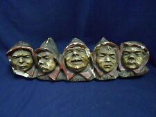 Vintage Antique Five Hooded Monks Chalkware Hanging Match Holder Decor RARE