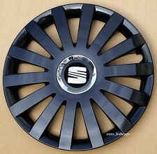 "Black 15"" wheel trims, Hub Caps, Covers to fit Seat Ibiza,Leon"
