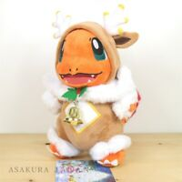 Pokemon Center Original 2019 Frosty Christmas Sawsbuck Poncho Charmander Plush