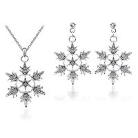 Winter Collection Jewellery Silver Snowflake Earrings & Necklace Pendant S841