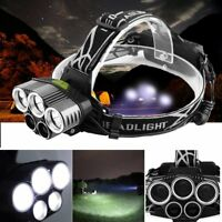 30000LM 5 Head CREE XM-L T6 LED Headlamp Headlight Flashlight Torch Lamp