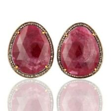 0.74 CT Pave Diamond Natural Ruby 925 Sterling Silver Stud Earrings Jewelry