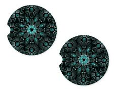 Mandala Diamond Rubber Car Coasters For Drinks Absorbent Car Cup Holder SET OF 2