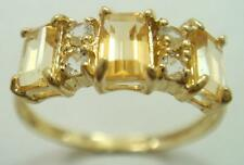 FINE 10KT YELLOW GOLD CITRINE & WHITE TOPAZ RING SIZE 7    R1119