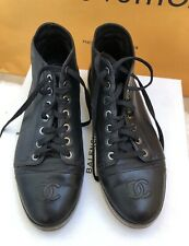 Chanel black boots high top sneakers logo CC size 38/ us 7