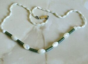 Vintage Hand Knotted Mother Of Pearl & Green Chrysocolla Jasper ? Necklace