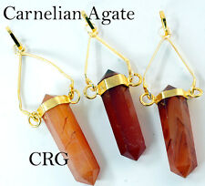 Gold Plated Swivel Carnelian Agate Point Pendant (SP22DG)