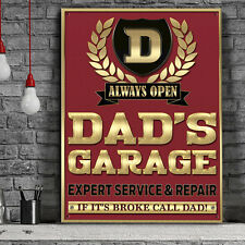 Dads Garage Metal Wall Sign Motor Repair Mens Family Gift Home Decor Art 50129