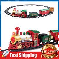 Railway Train Tracks Toy Set w/ Lights & Sounds Playset Christmas Gift for Kids