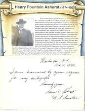 Henry F Ashurst Autograph Note Senator Arizona Judiciary Committee Nevada
