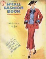 ORIGINAL Vintage August Autumn 1934 McCall Fashion Book Magazine FRESH!