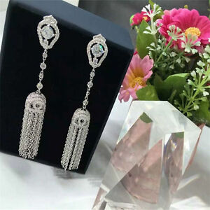 18K White Gold Filled Simulated Diamond Party Twisted Dangle Tassel Earrings
