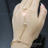 HOT Woman Gold 3 Stud Rivet Bracelet Slave Chain Link Hand Harness Finger Ring