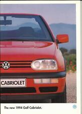 VW VOLKSWAGEN GOLF CABRIOLET & AVANTGARDE SALES BROCHURE JANUARY 1994