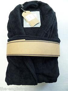 Mens luxury 100% cotton bathrobe dressing gown navy black S M L XL No3