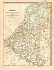 1911 LARGE VICTORIAN MAP ~ BELGIUM & THE NETHERLANDS BRABANT ANTWERP FLANDERS