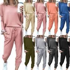 Women Plain Long Sleeve Sports Tracksuit Set Casual Baggy Gym Running Loungewear
