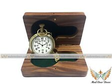 Nautical Brass Timekeeper Antique Pocket Watch Clocks With Vintage Wooden Box...