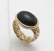 QVC Size 7.5 Genuine Natural Black Onyx Byzantine Ring Real 14K Yellow Gold