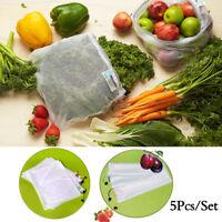 5pcs Reusable Produce Bags Black Rope Mesh Vegetable Fruit Toys Storage Pouch UK