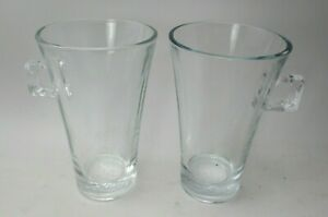 Pair of Nescafe Dolce Gusto Nespresso Glass Latte Coffee Cups Mugs