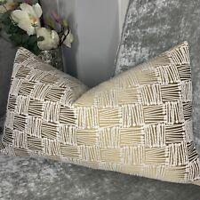"Cushion Cover 12""x20"" Designer Fabric Gold Decor Embroidered Geometric Design"