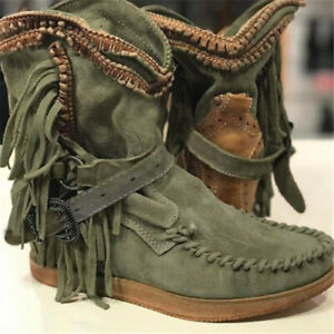 Womens Casual Winter Boots Solid Color Tassel Boots Faux Leather Cowgirl Bootie
