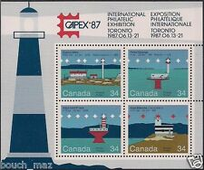 Canada Stamps - Souvenir sheet of 4 - CAPEX-87, Canadian Lighthouses #1066b -MNH