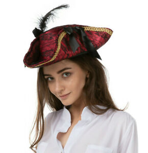 Ladies Red Deluxe Pirate Hat Pirates Shipmate Costume Fancy Dress Halloween UK
