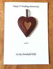 3rd Wedding Anniversary Card Personalised Leather Heart Gift Husband Wife