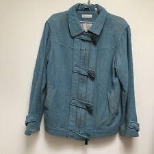 Ben Sherman Car Coat Blue Distressed Wool Blend Zip Front Long Sleeve L