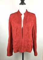 Chico's Crewel Embroidered Open Front Long Sleeve Holiday Career Jacket Red Sz 3