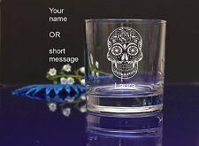 Personalised SUGAR SKULL engraved whiskey glass for Birthday, Christmas gift 142
