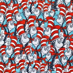 FQ DR SEUSS CAT IN THE HAT CHILDREN CHARACTER POLYCOTTON FABRIC