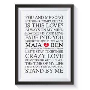 ArtPrint / LoveSongs / Kunstdruck Poster Geschenk Hochzeit Valentinstag Liebe