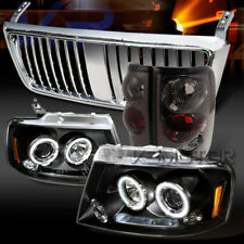 04-08 F150 Black LED Halo Projector Headlights+Smoke Tail Lamps+Chrome Grille