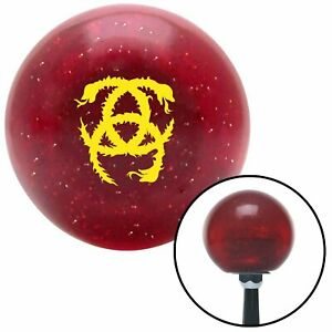 Yellow Heraldic Snakes Red Metal Flake Shift Knob with 16mm x 1.5 Insert model a